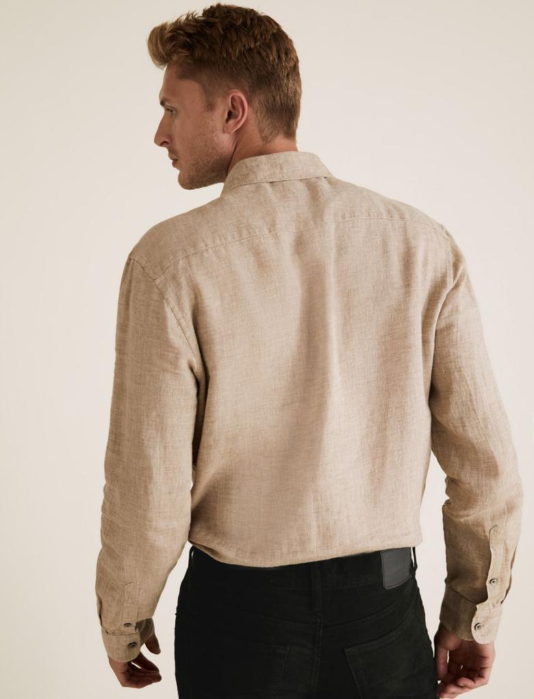 Erkek Kahverengi Saf Keten Regular Fit Gömlek