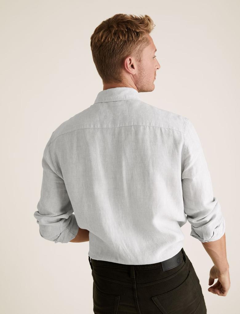 Erkek Gri Saf Keten Regular Fit Gömlek