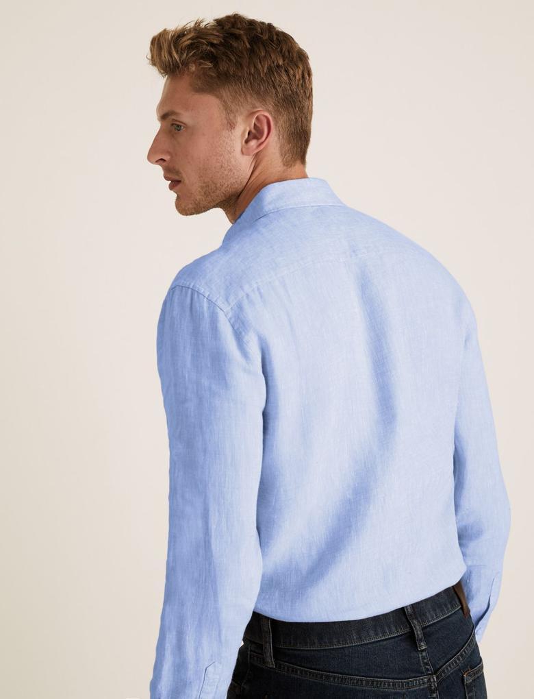 Erkek Mavi Saf Keten Regular Fit Gömlek