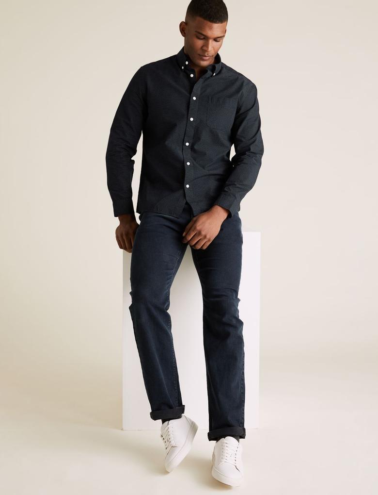 Erkek Lacivert Puantiyeli Uzun Kollu Gömlek
