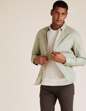Erkek Yeşil Saf Pamuklu Oxford Gömlek