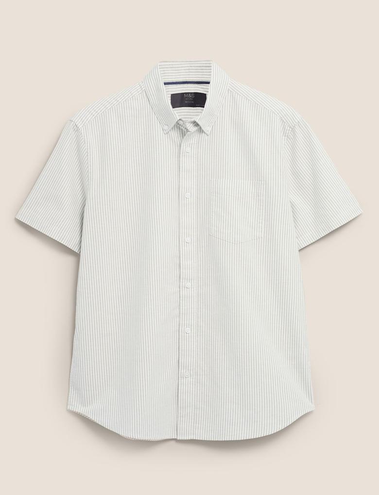 Erkek Yeşil Çizgili Kısa Kollu Oxford Gömlek