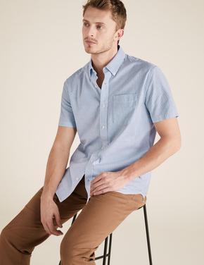Erkek Mavi Çizgili Kısa Kollu Oxford Gömlek