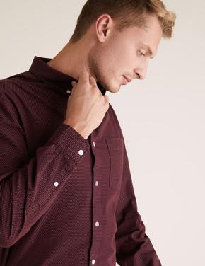 Erkek Bordo Puantiyeli Uzun Kollu Gömlek