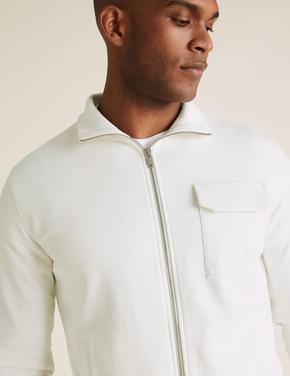 Beyaz Saf Pamuklu Sweatshirt