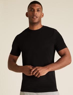 Siyah 3'lü Saf Pamuklu T-Shirt Seti