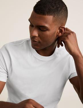 Beyaz 3'lü Saf Pamuklu T-Shirt Seti