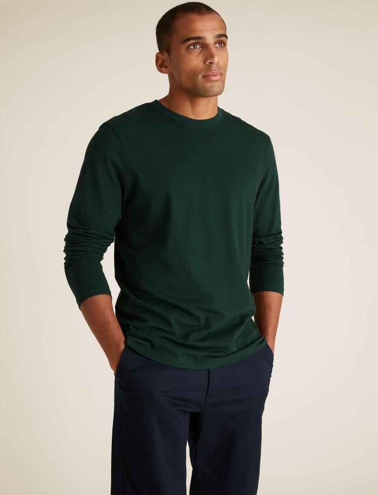 Yeşil Saf Pamuklu Uzun Kollu T-Shirt