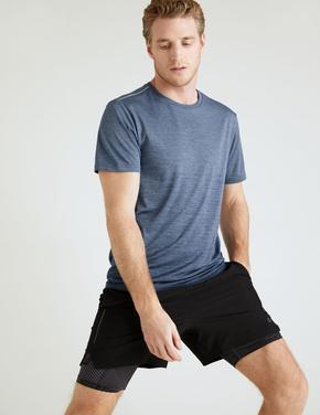 Erkek Lacivert Slim Fit Kısa Kollu T-Shirt