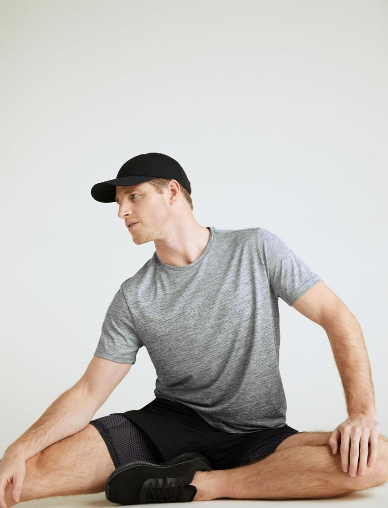 Erkek Gri Slim Fit Kısa Kollu T-Shirt