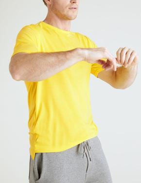 Erkek Sarı Yumuşak Dokulu Kısa Kollu T-shirt