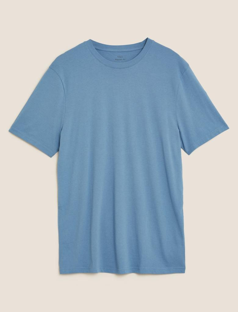 Mavi Saf Pamuklu Yuvarlak Yaka T-shirt