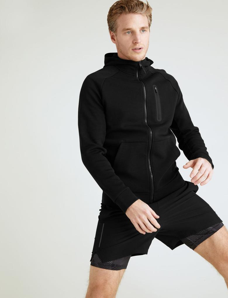 Erkek Siyah Kapüşonlu Sweatshirt