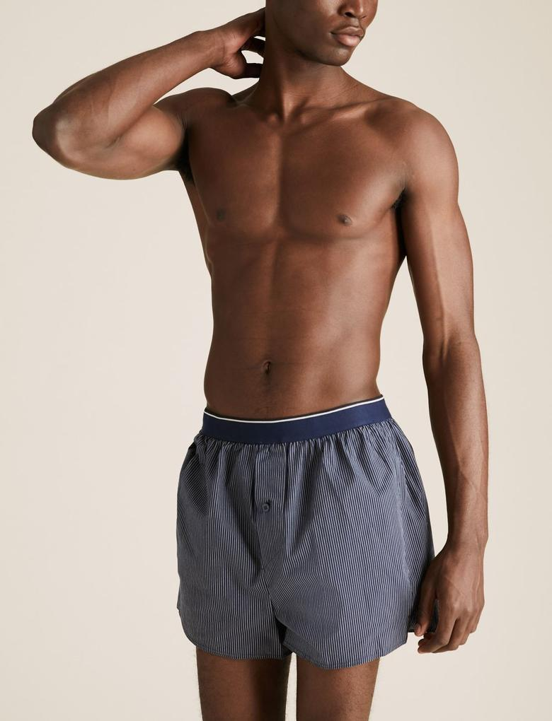 Erkek Lacivert 3'lü Saf Pamuklu Boxer Seti