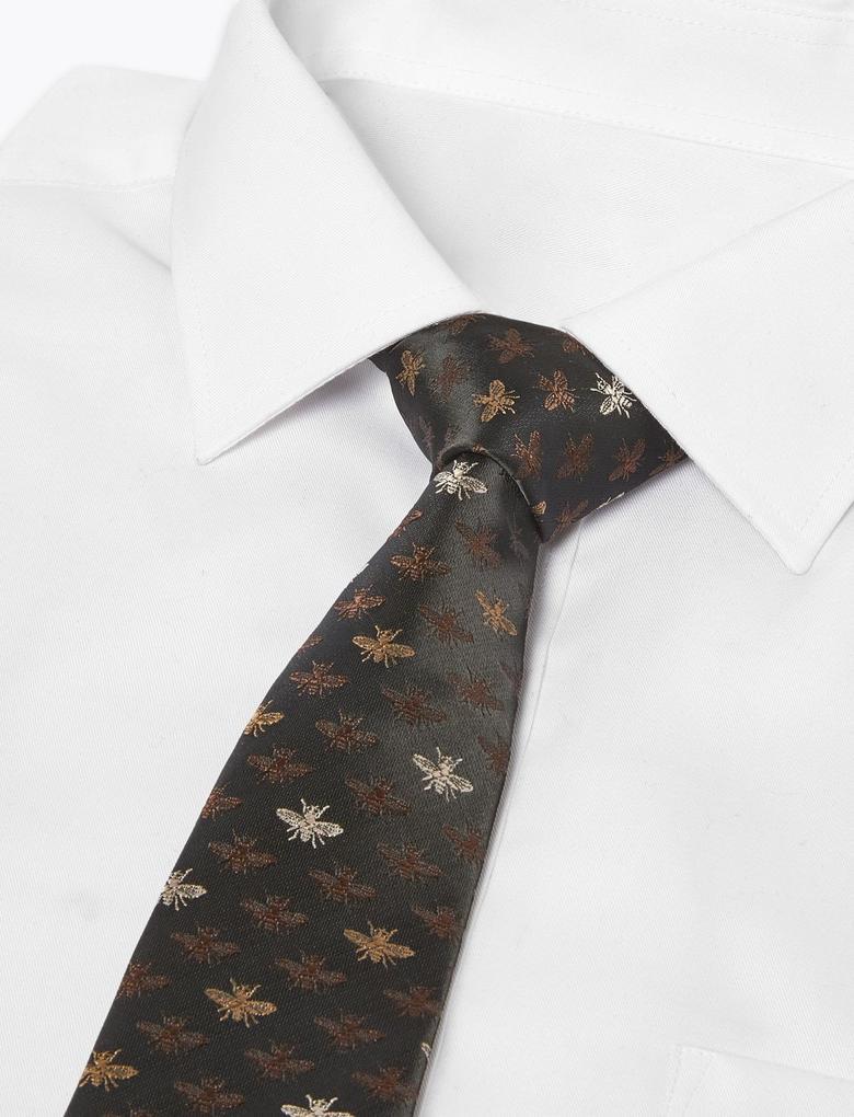 Erkek Siyah Arı Desenli Kravat