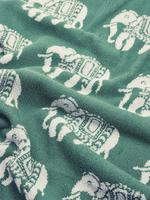 Ev Yeşil Saf Pamuklu Fil Desenli Havlu