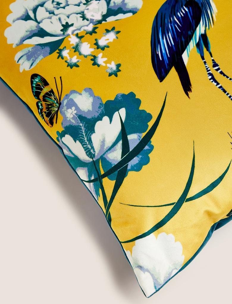 Ev Sarı Desenli Kadife Yastık