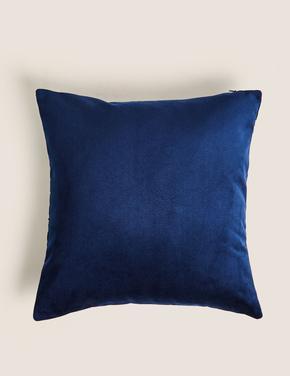 Ev Lacivert Kadife Desenli Yastık