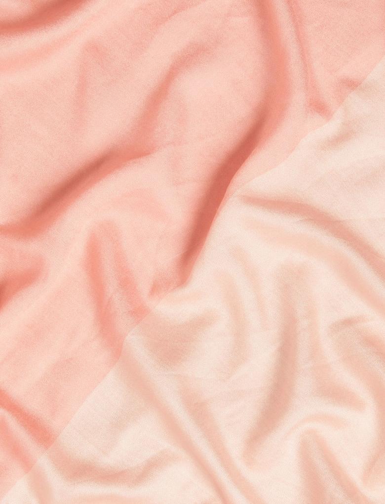 Kadın Pembe Yün Karışımlı Renk Bloklu Şal