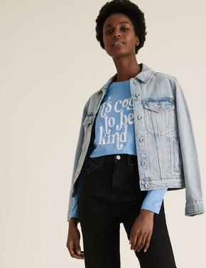 Kadın Mavi Saf Pamuklu Slogan T-Shirt