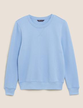 Kadın Mavi Pamuklu Yuvarlak Yaka Sweatshirt