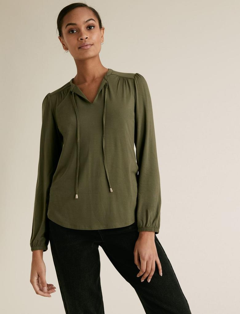 Kadın Yeşil Yaka Detaylı Relaxed Bluz