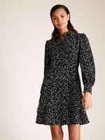 Kadın Siyah Yaprak Desenli Mini Gömlek Elbise
