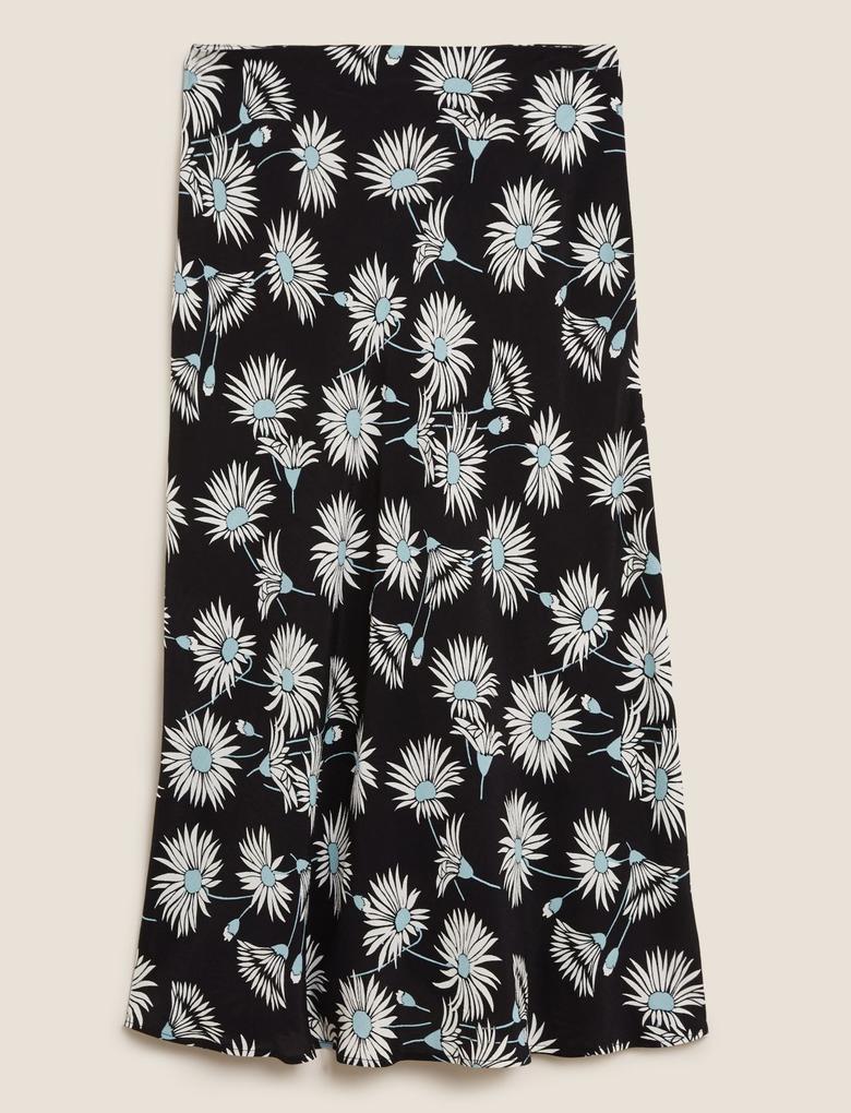 Kadın Siyah Çiçek Desenli Midi Etek
