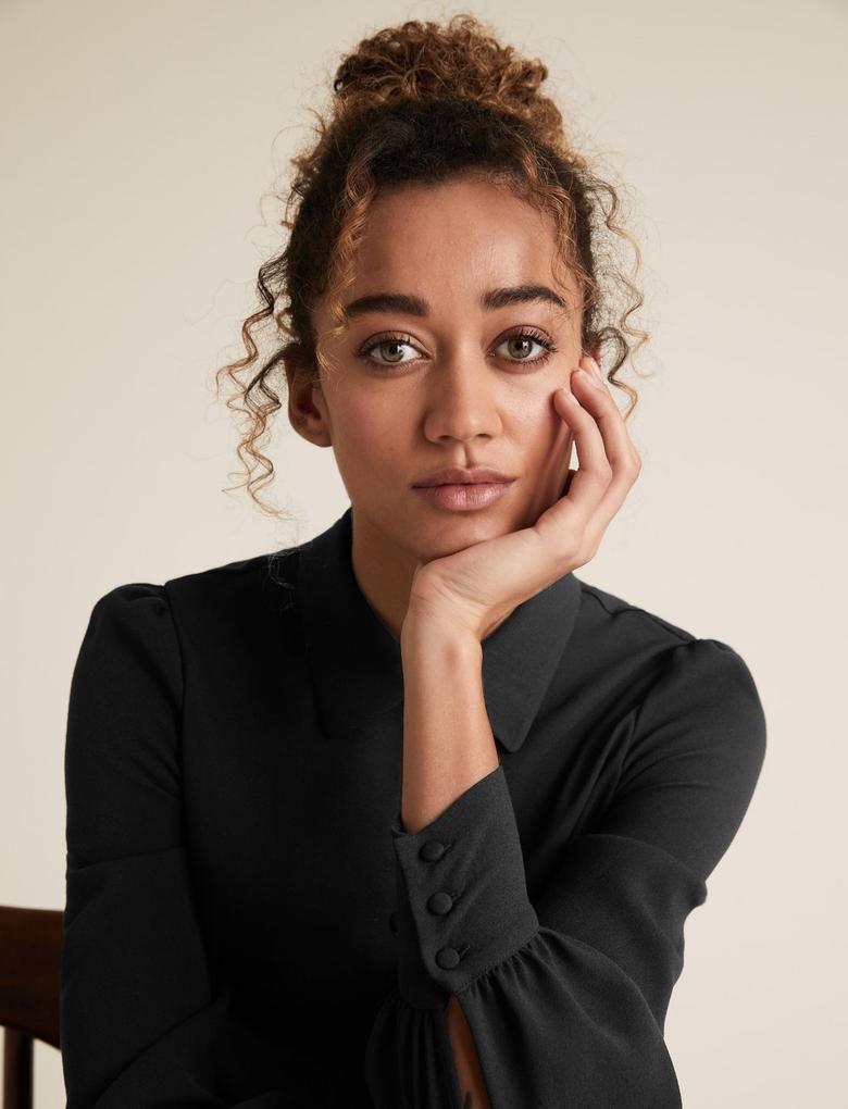 Kadın Siyah Karpuz Kollu Mini Elbise