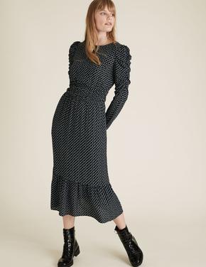 Kadın Siyah Karpuz Kollu Waisted Elbise