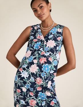 Kadın Multi Renk V Yaka Waisted Keten Elbise
