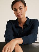 Kadın Lacivert Tencel ™ Düğme Detaylı Gömlek