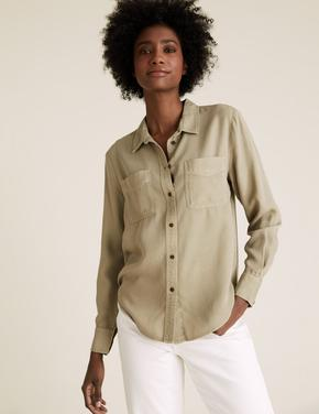 Kadın Yeşil Tencel ™ Düğme Detaylı Gömlek