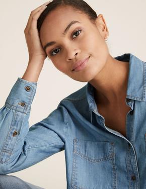 Kadın Mavi Tencel ™ Denim Gömlek