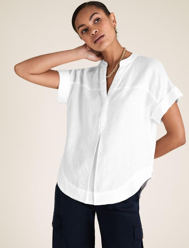 Kadın Beyaz Keten V Yaka Bluz