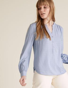 Kadın Mavi Uzun Kollu V Yaka Bluz