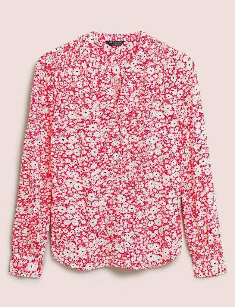 Kadın Pembe Çiçek Desenli V Yaka Bluz