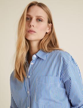 Kadın Mavi Saf Pamuklu Oversize Gömlek