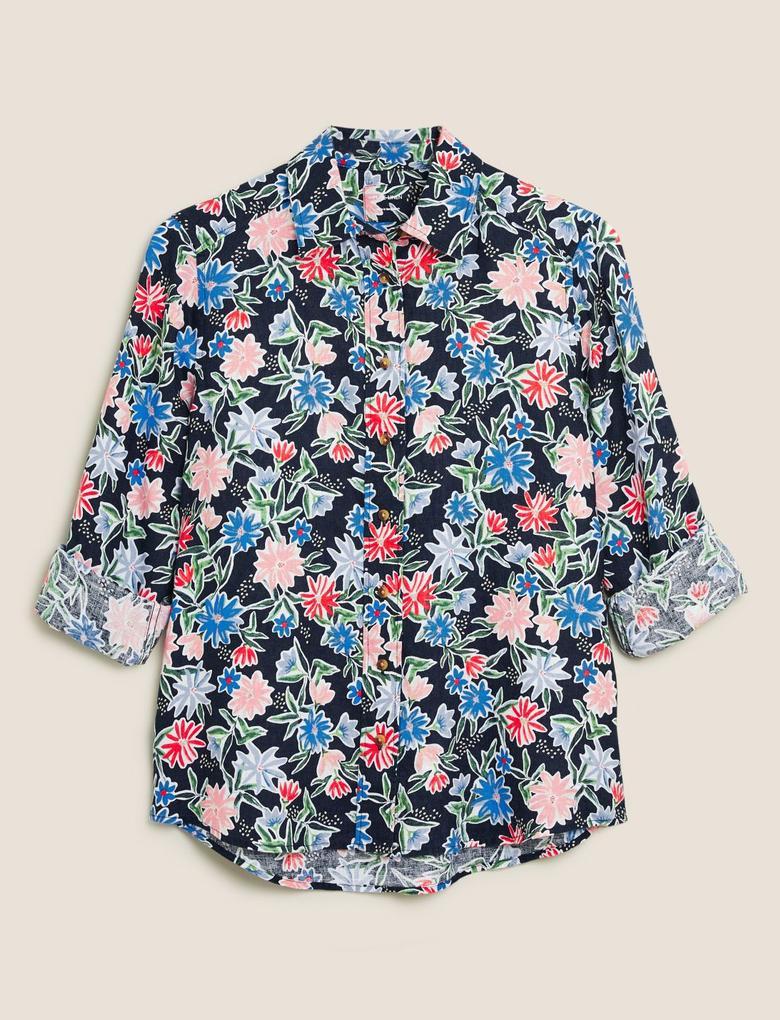 Kadın Lacivert Çiçek Desenli Keten Gömlek