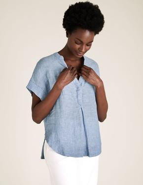 Kadın Mavi Keten V Yaka Bluz