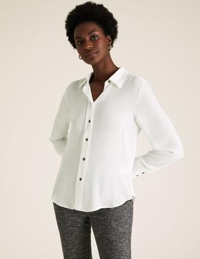 Kadın Krem Düğme Detaylı Gömlek