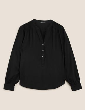 Kadın Siyah Uzun Kollu V Yaka Bluz