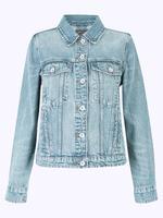 Kadın Mavi Saf Pamuklu Denim Ceket