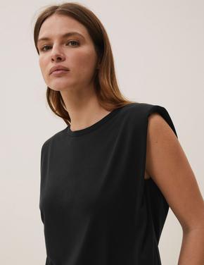 Kadın Siyah Modal Karışımlı Vatkalı Bluz