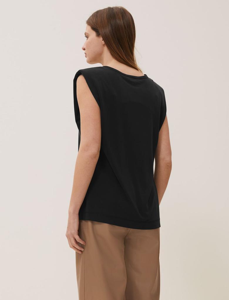 Siyah Modal Karışımlı Vatkalı Bluz