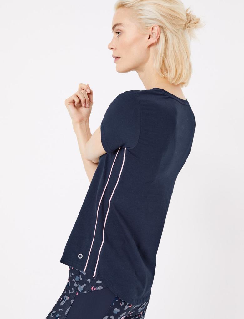 Kadın Lacivert Pamuklu Kısa Kollu T-Shirt