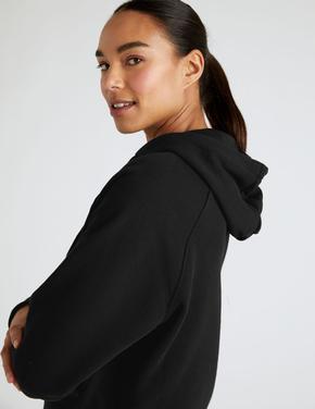 Kadın Siyah Saf Pamuklu Oversize Sweatshirt