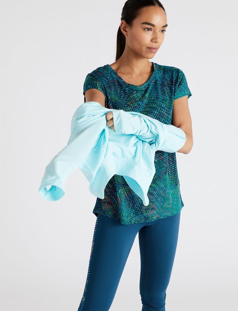 Kadın Yeşil Kısa Kollu Desenli T-Shirt