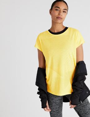 Kadın Sarı Özel Dokulu Kısa Kollu Bluz