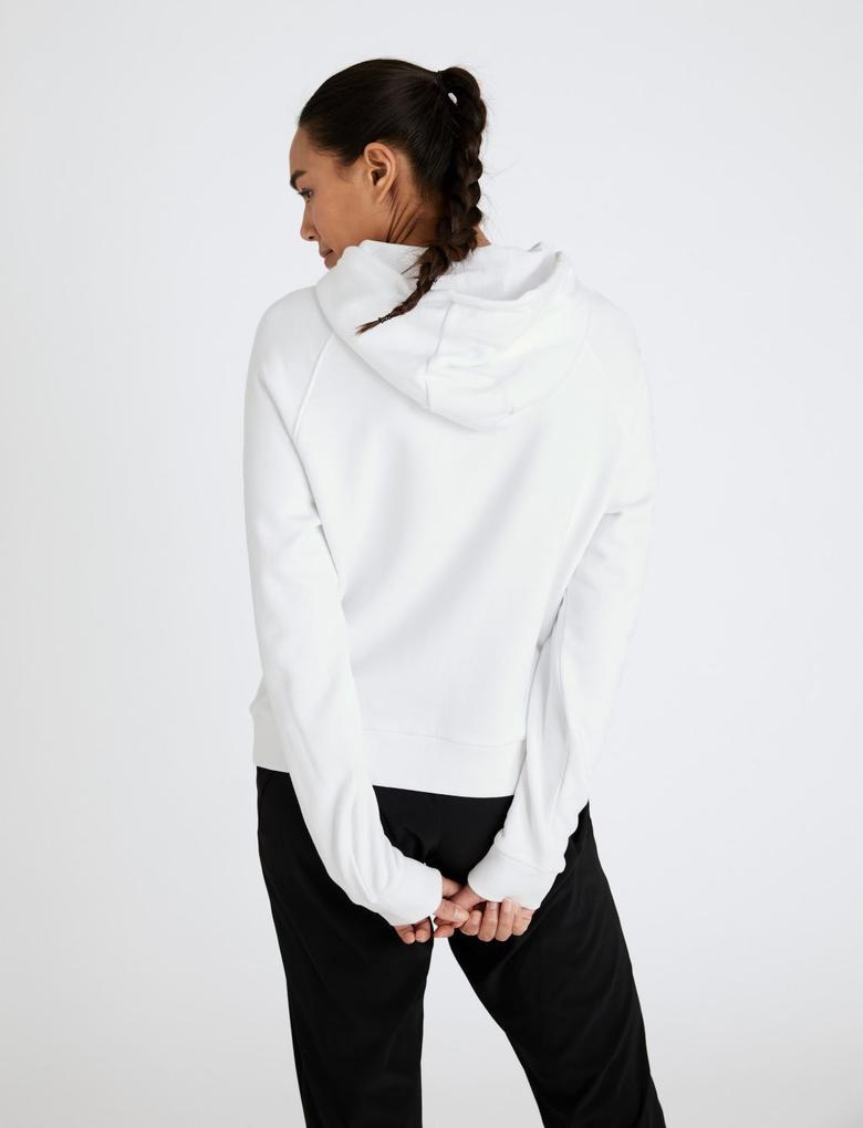 Kadın Beyaz Saf Pamuklu Oversize Sweatshirt